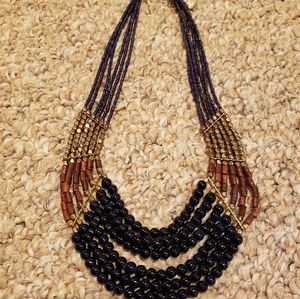 Talbot necklace navy blue gold & wood accents